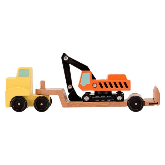 Melissa & Doug Trailer and Excavator Wooden Vehicle Set (3pc) image number null