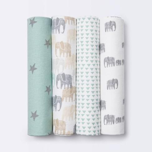 Flannel Baby Blankets Elephants - Cloud Island™ Gray 4pk - image 1 of 3