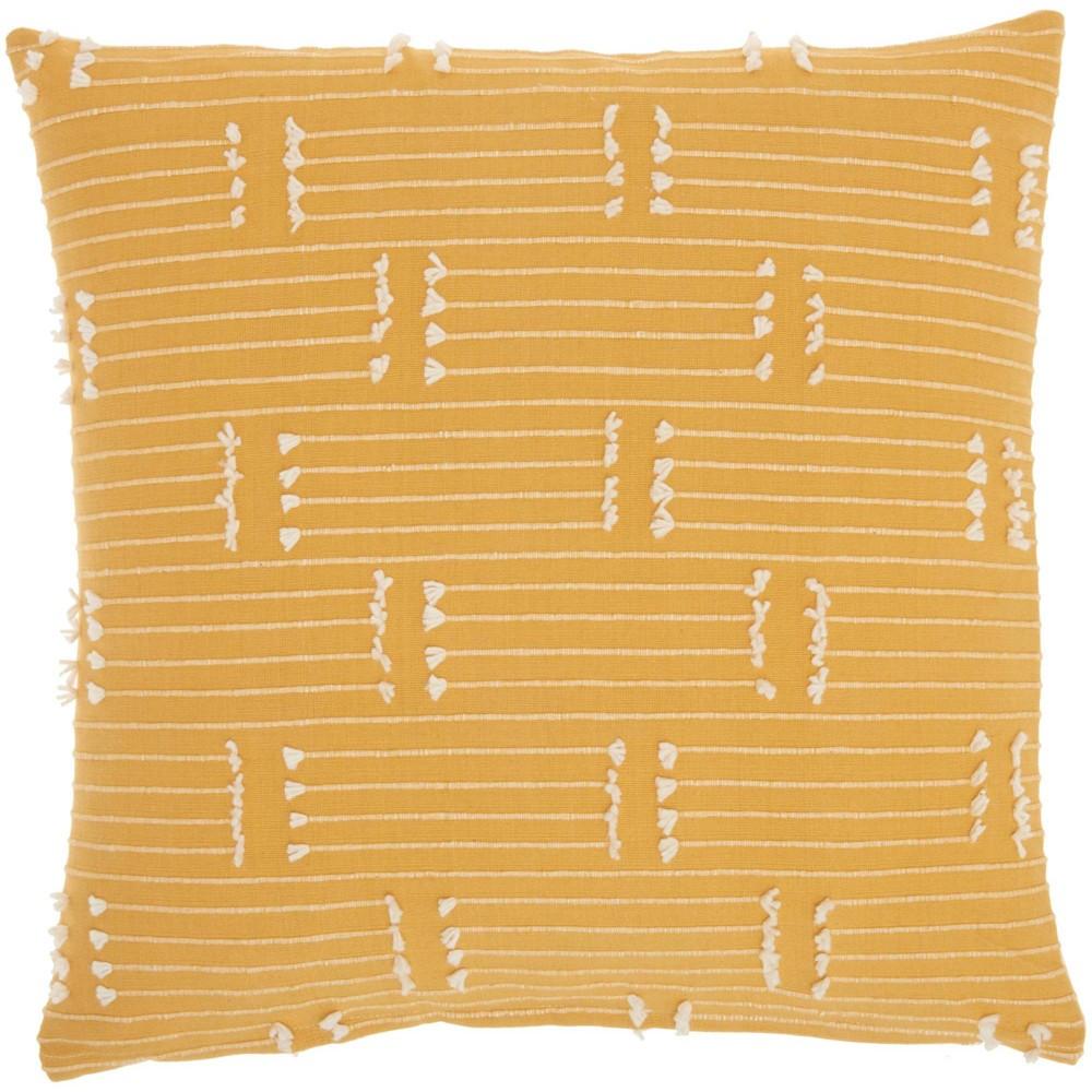 18 34 X18 34 Broken Stripes Square Throw Pillow Yellow Kathy Ireland Home