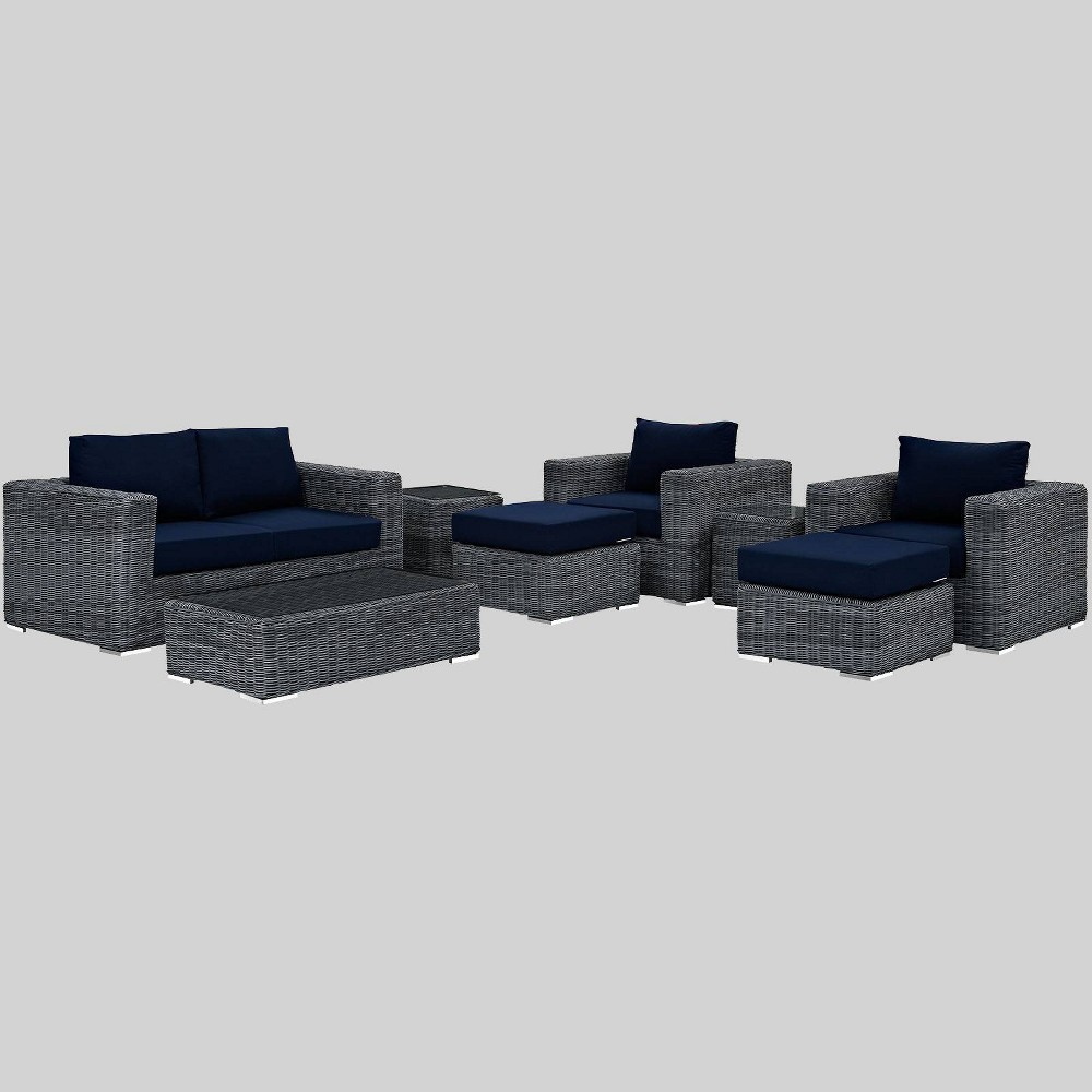 Prime Summon 8Pc Outdoor Patio Sectional Set With Sunbrella Fabric Bralicious Painted Fabric Chair Ideas Braliciousco