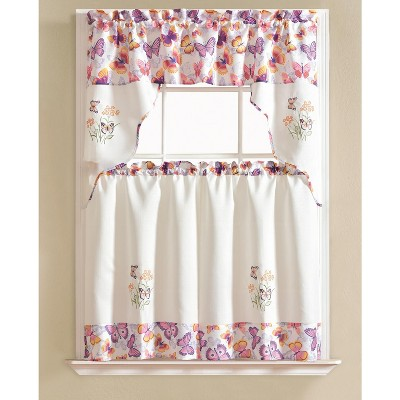 Ramallah Trading Urban Embroidered Butterfly Tier and Valance - 60 x 36, Purple