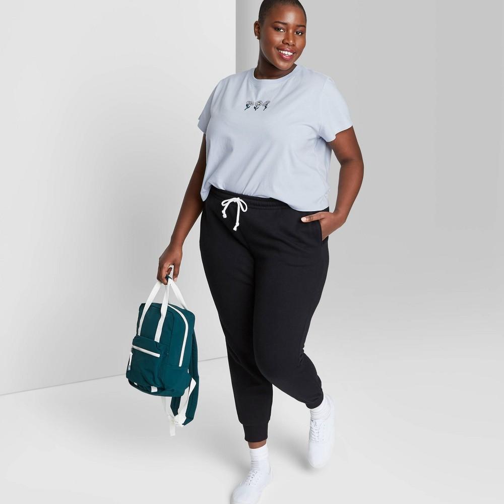 Women 39 S Plus Size Short Sleeve Shrunken Boxy T Shirt Wild Fable 8482 Light Blue 3x