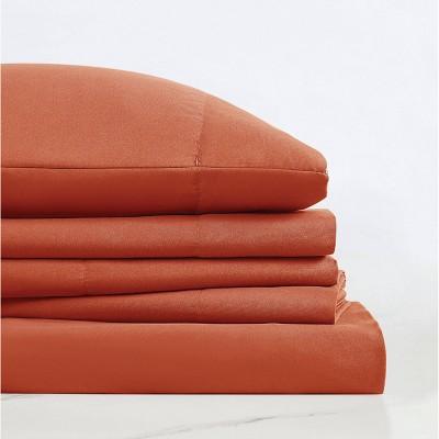 King Everyday Microfiber Solid Sheet Set Orange - Truly Soft