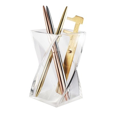 Zodaca Stylish Wave Pen Holder, Acrylic Pencil Cup Desk Organizer Makeup Brushes Holder, Clear