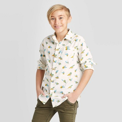 Boys' Long Sleeve Dino Print Button-Down Shirt - Cat & Jack™ Almond Cream