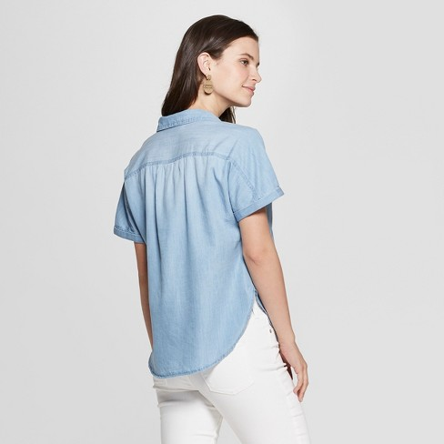 15e653c2f42 Women s Short Sleeve Collared Denim Camp Shirt - Universal Thread™ Light  Wash   Target