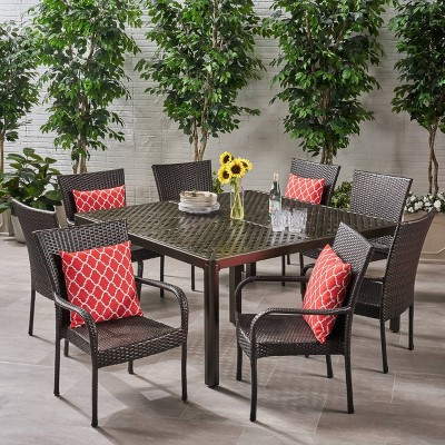 Bullpond 9pc Aluminum and Wicker Dining Set - Christopher Knight Home