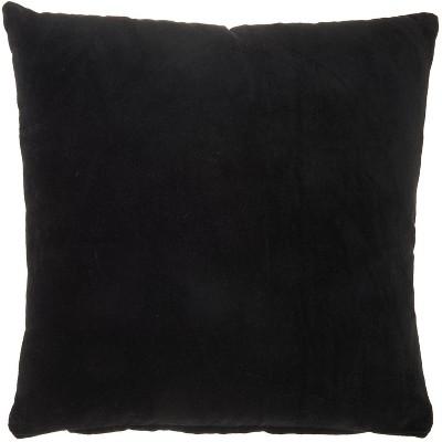 """16""""x16"""" Solid Velvet Square Throw Pillow Black - Nourison"""