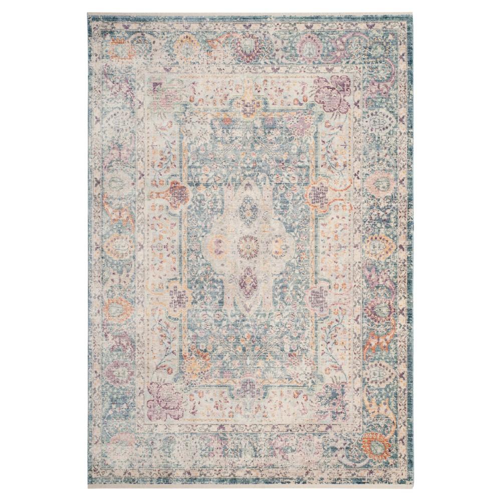 Teal/Cream (Blue/Ivory) Floral Loomed Area Rug 6'X9' - Safavieh