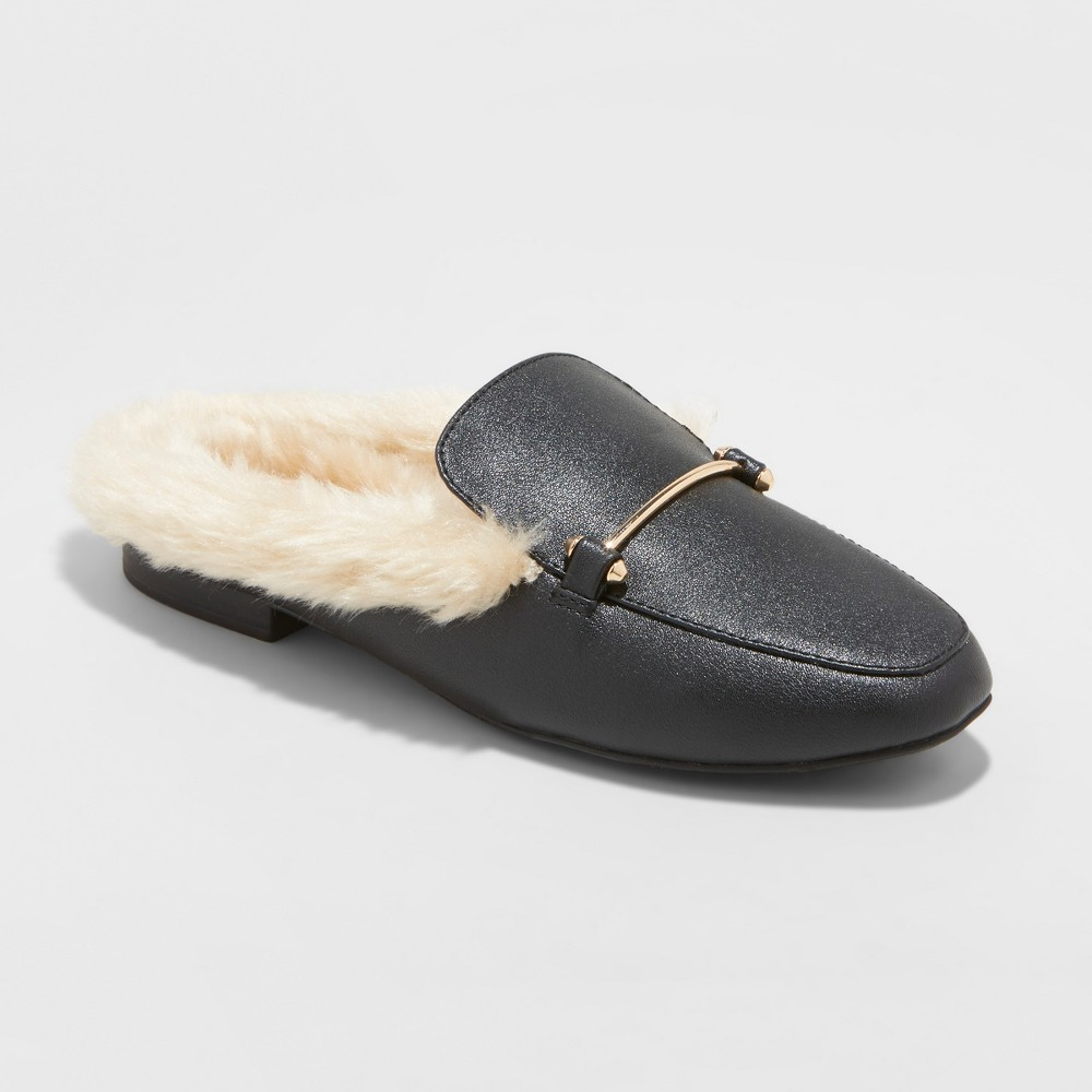Women's Rebe Wide Width Faux Leather Fur Backless Mules - A New Day Black 10W, Size: 10 Wide