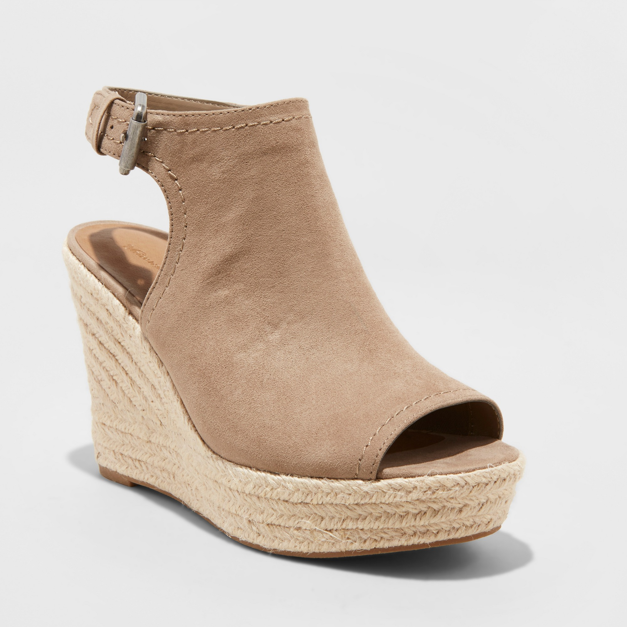 Women's Cayla Microsuede Shield Espadrille Wedge - Universal Thread Taupe (Brown) 10