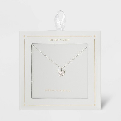 Silver Plated Butterfly Extender Pendant Necklace - Sliver Gray