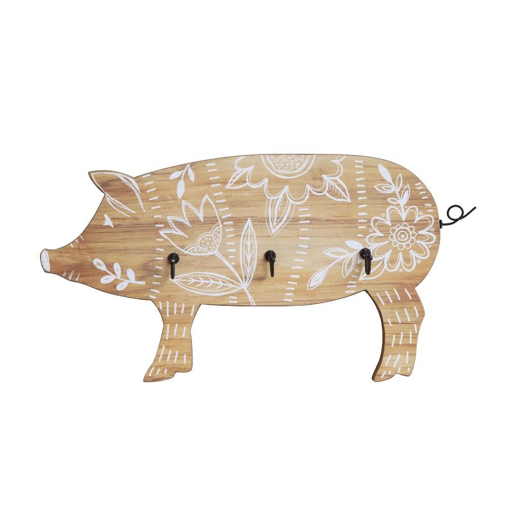 Wall Hook Wooden Pig - 3R Studios, Light Brown