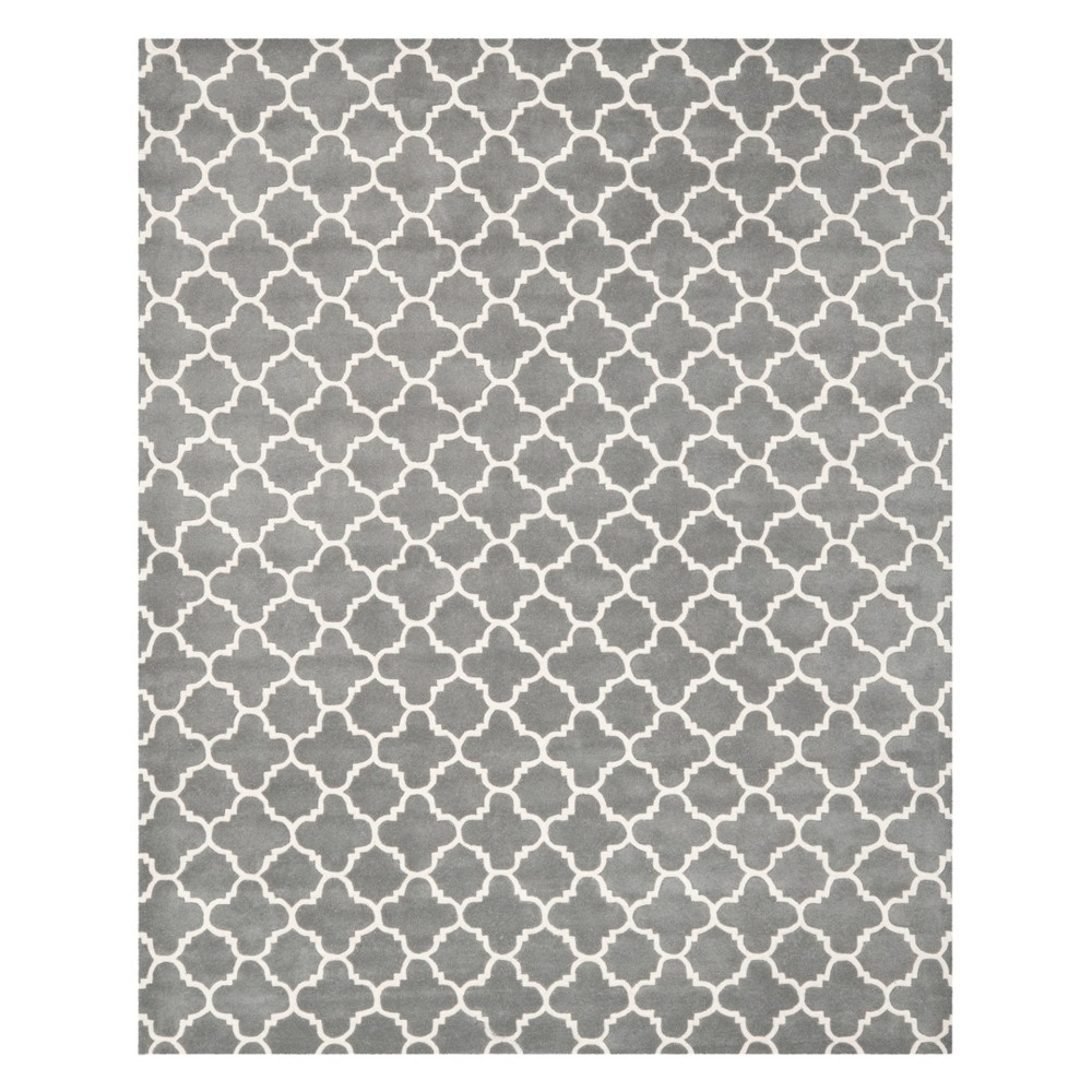 8'X10' Quatrefoil Design Tufted Area Rug Dark Gray/Ivory - Safavieh