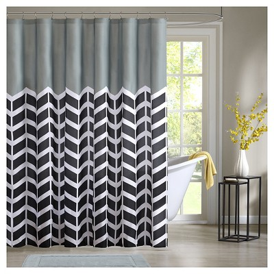 Darcy 100% Microfiber Printed Shower Curtain - Black
