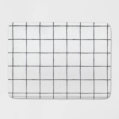 23 x17  Windowpane Memory Foam Rug White/Black - Room Essentials™