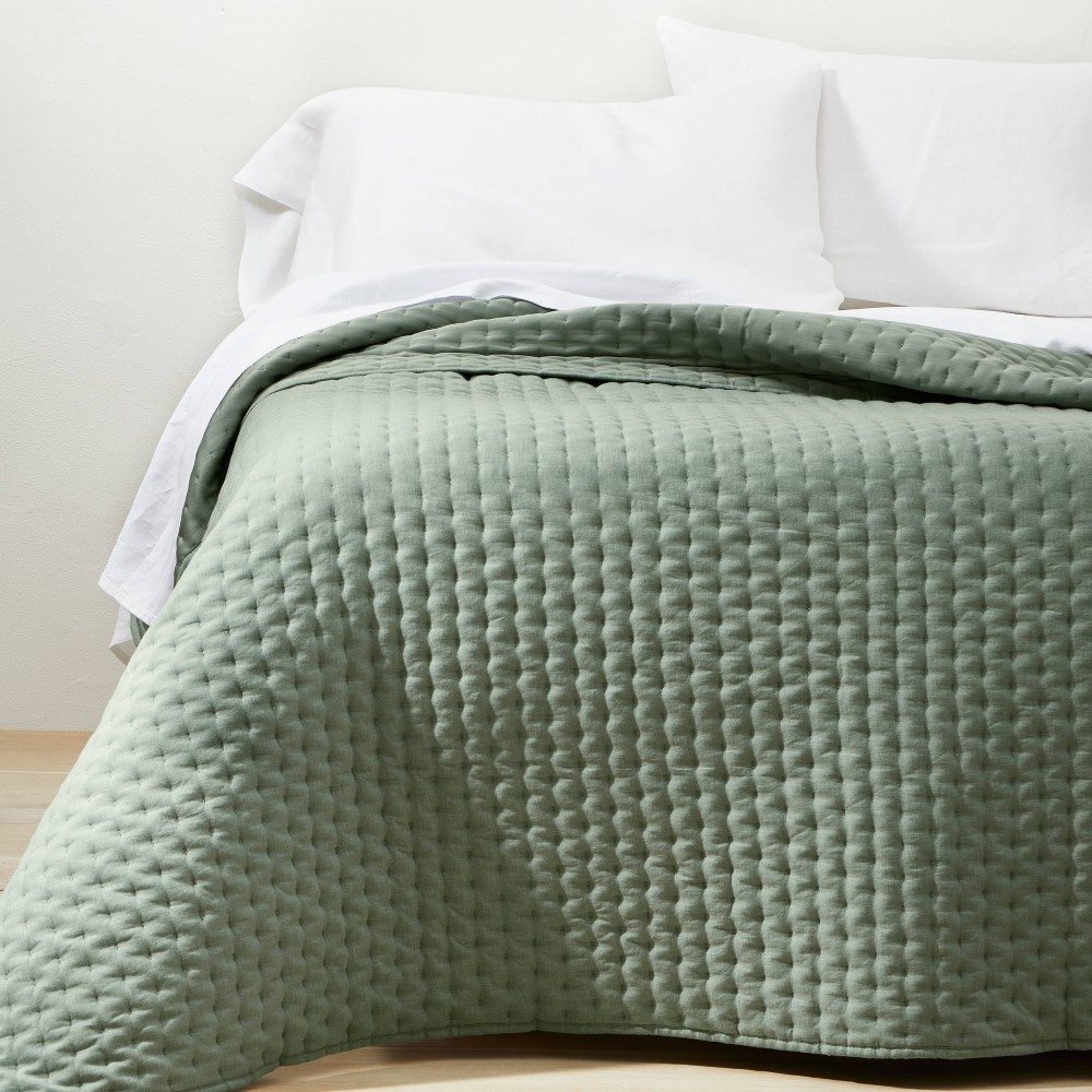 Full Queen Cashmere Blend Quilt Sage Green Casaluna 8482