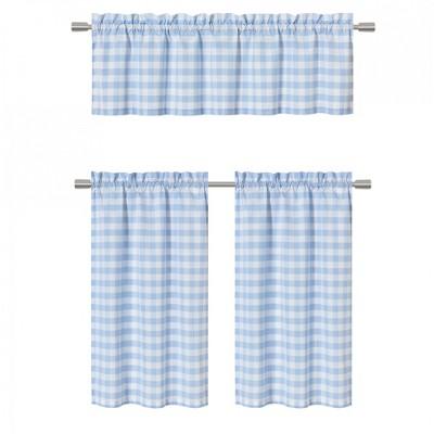 GoodGram Country Plaid Gingham 3 Pc Kitchen Curtain Tier & Valance Set
