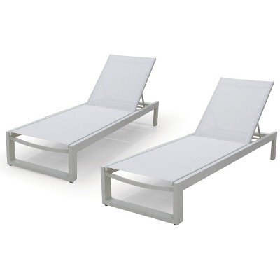 """2pk 84"""" Aluminum Patio Chaise Lounges with Wheels - White - Infinity"""