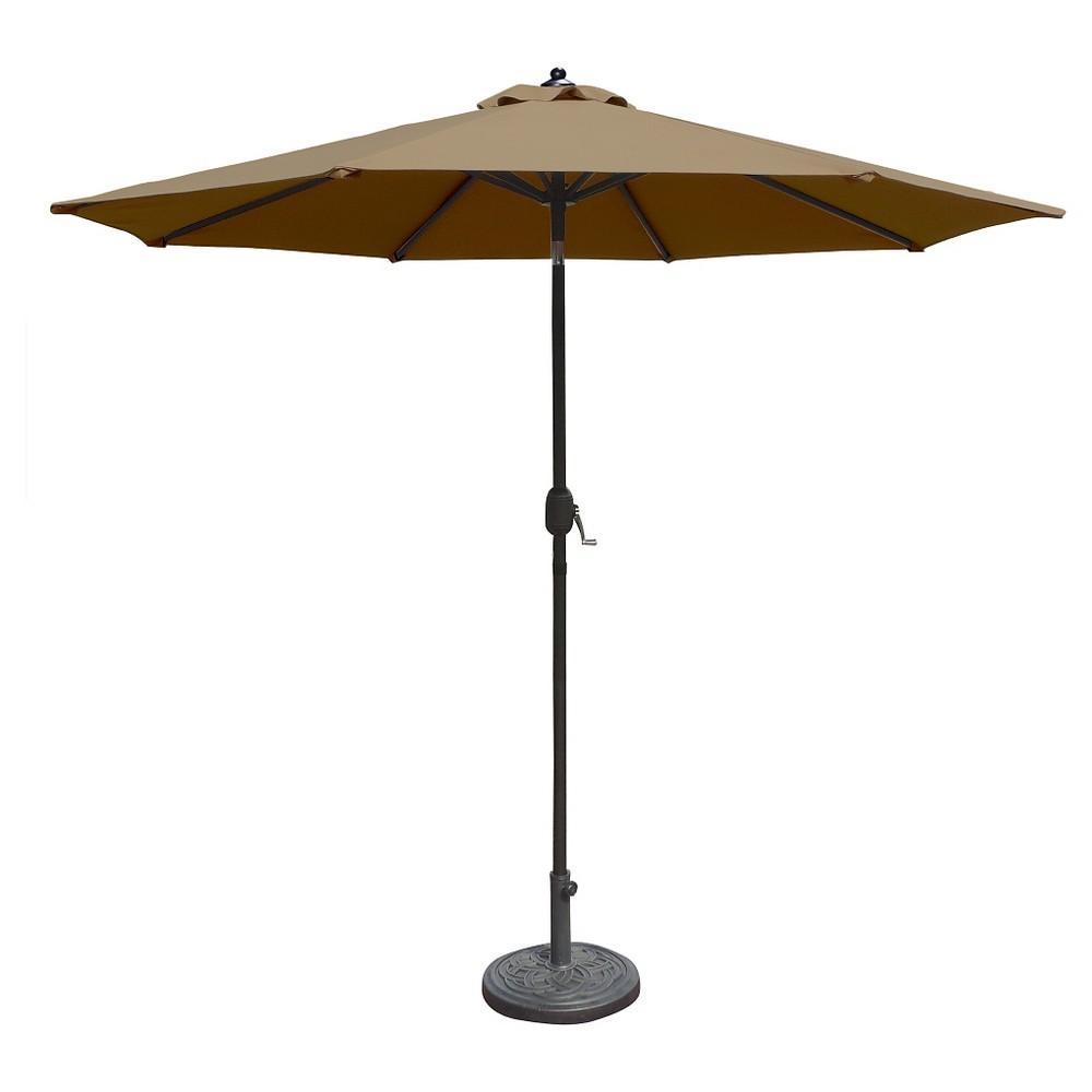 Island Umbrella Mirage 9' Market Umbrella in Stone (Grey) Sunbrella