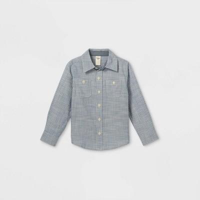 OshKosh B'gosh Toddler Boys' Chambray Striped Woven Long Sleeve Button-Down Shirt - Blue