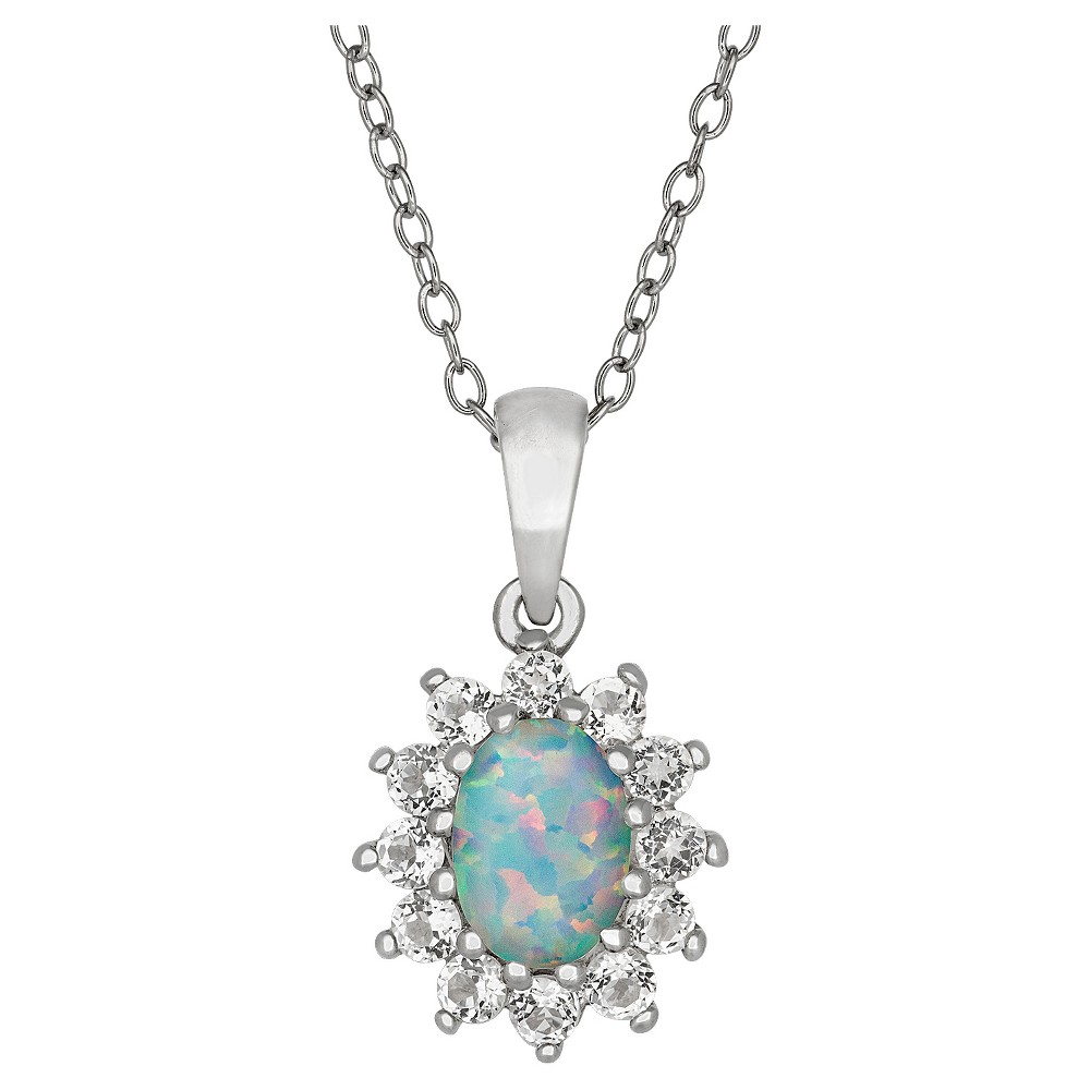 Oval-Cut Opal Flower Pendant in Sterling Silver, Girl's