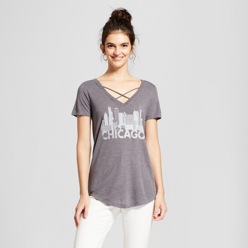 Women's Chicago Skyline Short Sleeve Cross Front Drapey Graphic T-Shirt - Awake Charcoal - image 1 of 2