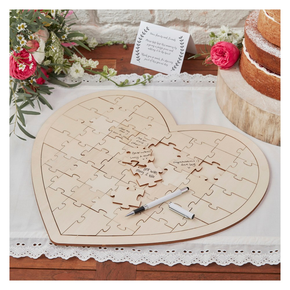 Image of Wooden Jigsaw Guestbook, guest books