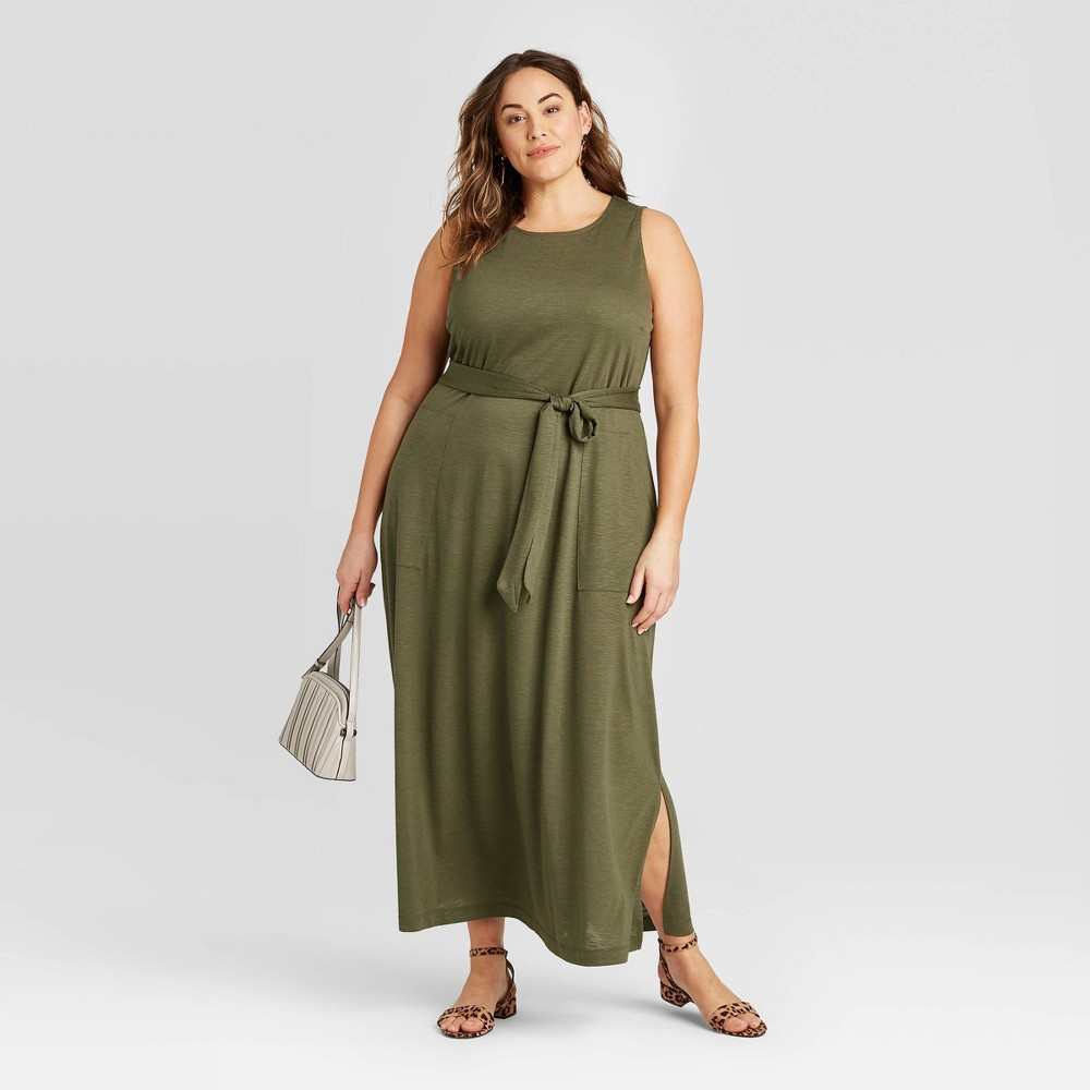 Women's Plus Size Sleeveless Belted Knit Maxi Dress - Ava & Viv Green 3X was $29.99 now $20.99 (30.0% off)