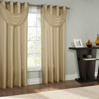 """Commonwealth Thermavoile Rhapsody Lined Grommet Ascot Valance - 36""""x""""19 in Mushroom Color"""