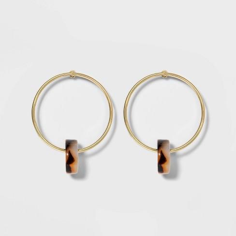 Women's Bead Hoop Earrings - A New Day™ Tortoise - image 1 of 3