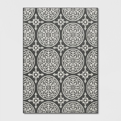 "4'X5'6"" Medallion Washable Tufted And Hooked Accent Rug Grey - Threshold™"