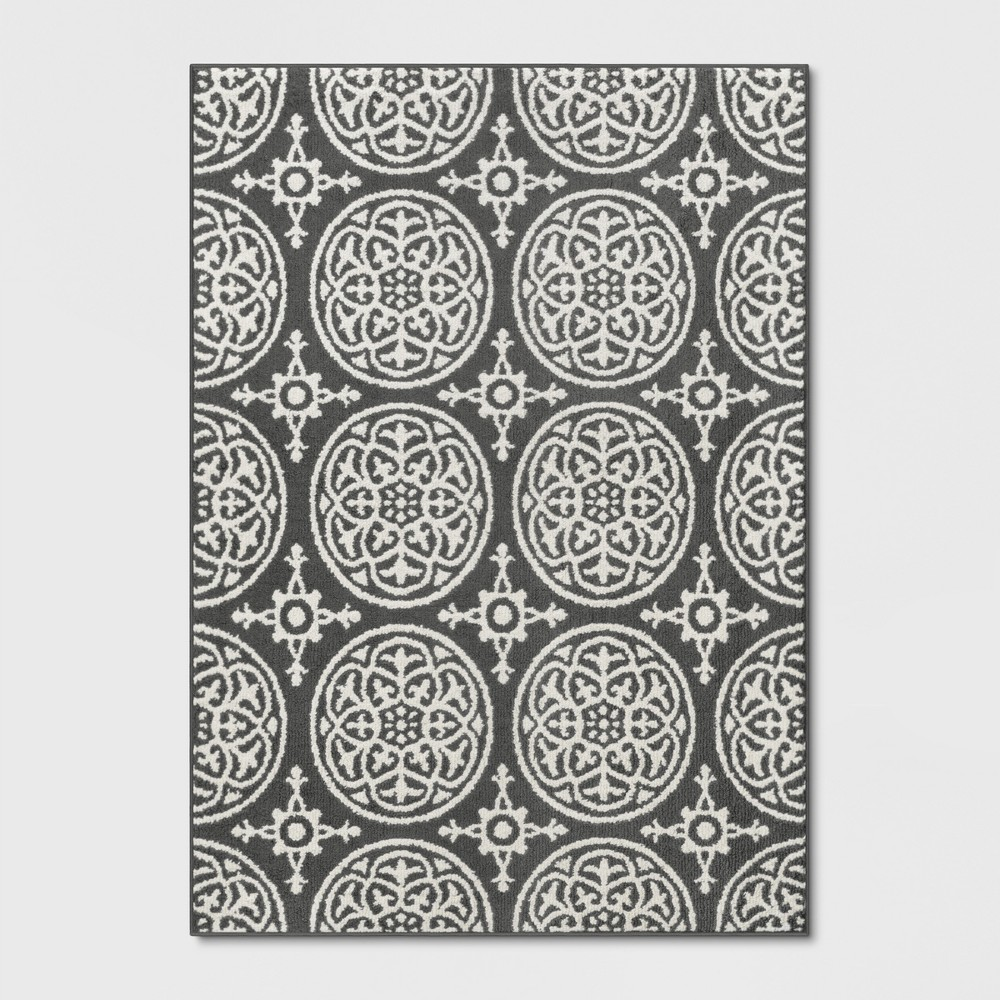 4'X5'6 Tufted And Looped Washable Accent Rug Medallion Grey - Threshold, Gray