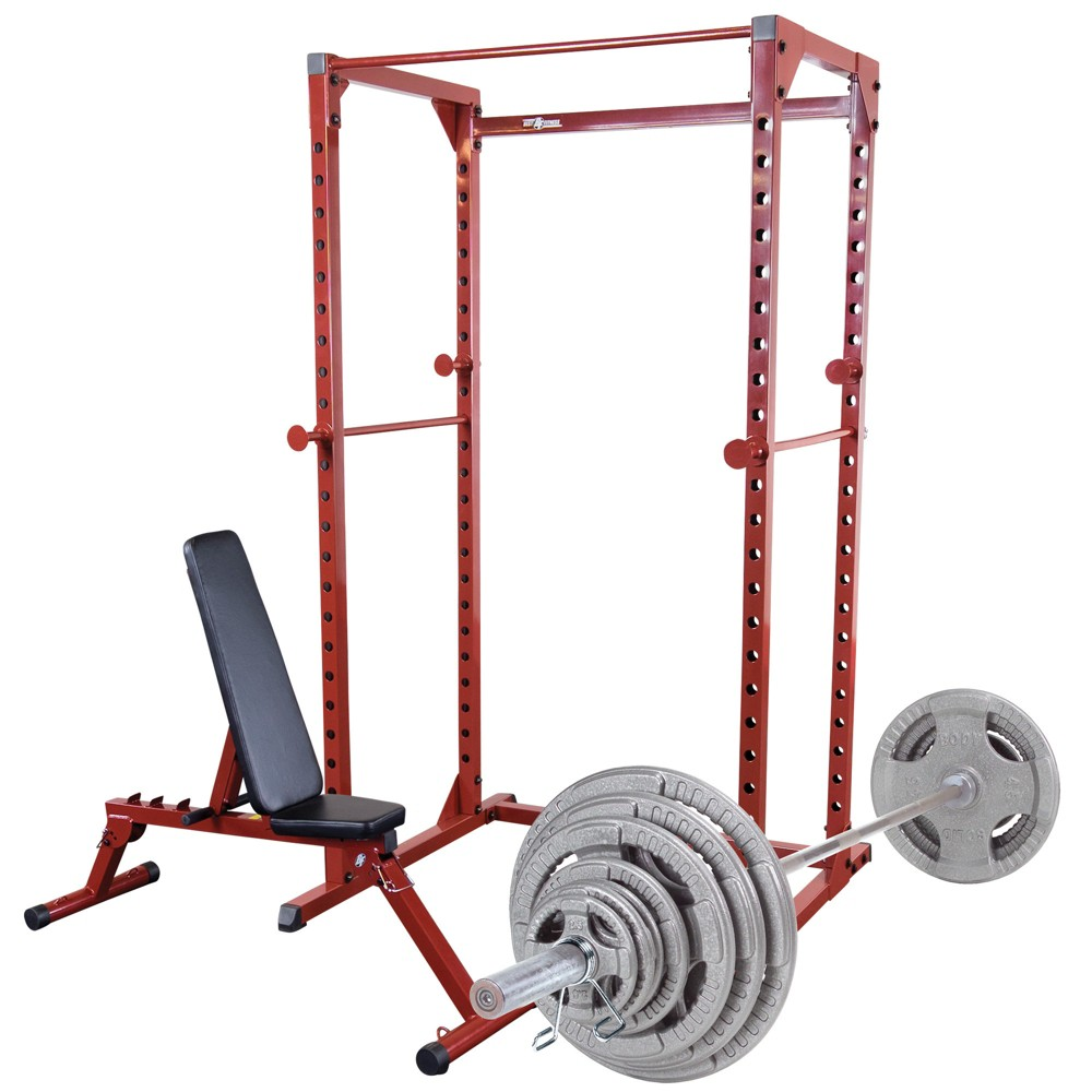 Best Fitness Power Rack and Fid Bench with 300LB Olympic Grip Handle Weight Set