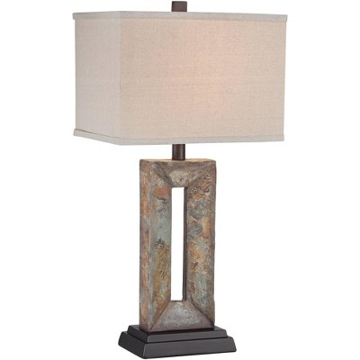 Franklin Iron Works Rustic Table Lamp Natural Stale Rectangular Box Shade for Living Room Family Bedroom Bedside Nightstand Office