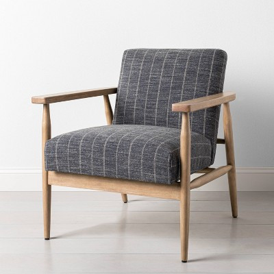 Upholstered Natural Wood Accent Chair Wide Stripe Dark Gray - Hearth & Hand™ with Magnolia