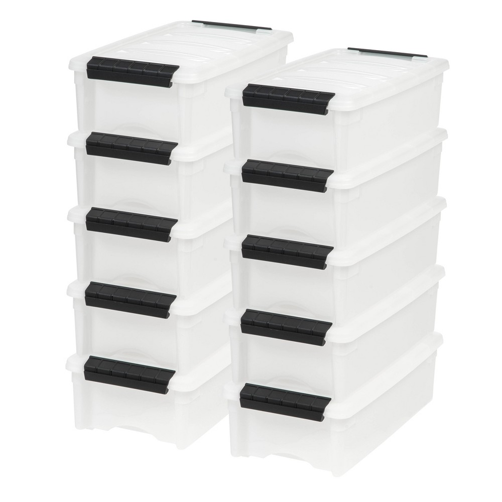 Image of IRIS 10pk 5qt Stack & Pull Storage Box - Pearl, White