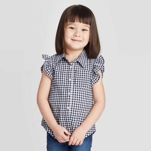 Toddler Girls' Gingham Button-Down Blouse - Cat & Jack™ Navy - image 1 of 3