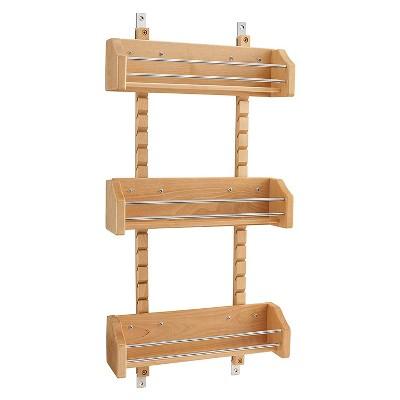 Rev-A-Shelf 4ASR-15 Small Adjustable 3-Shelf Kitchen Cabinet Door Mounted Wooden Spice Rack with Door Mount Brackets