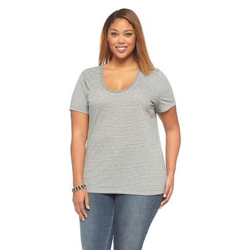 afb64e21648 Women s Plus Size Scoop Neck Basic T-Shirt - Ava   Viv™ - Gray 2X ...