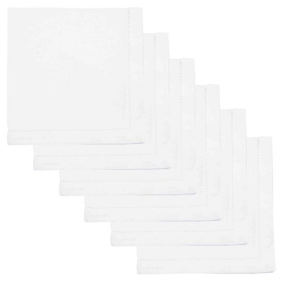 White Hemstitch 100% Cotton Napkins (Set Of 6)