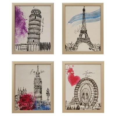 European Summer Days Framed Wall Art 4 Ps Set 14.76 X 17.72 X 4.3 - Trends International