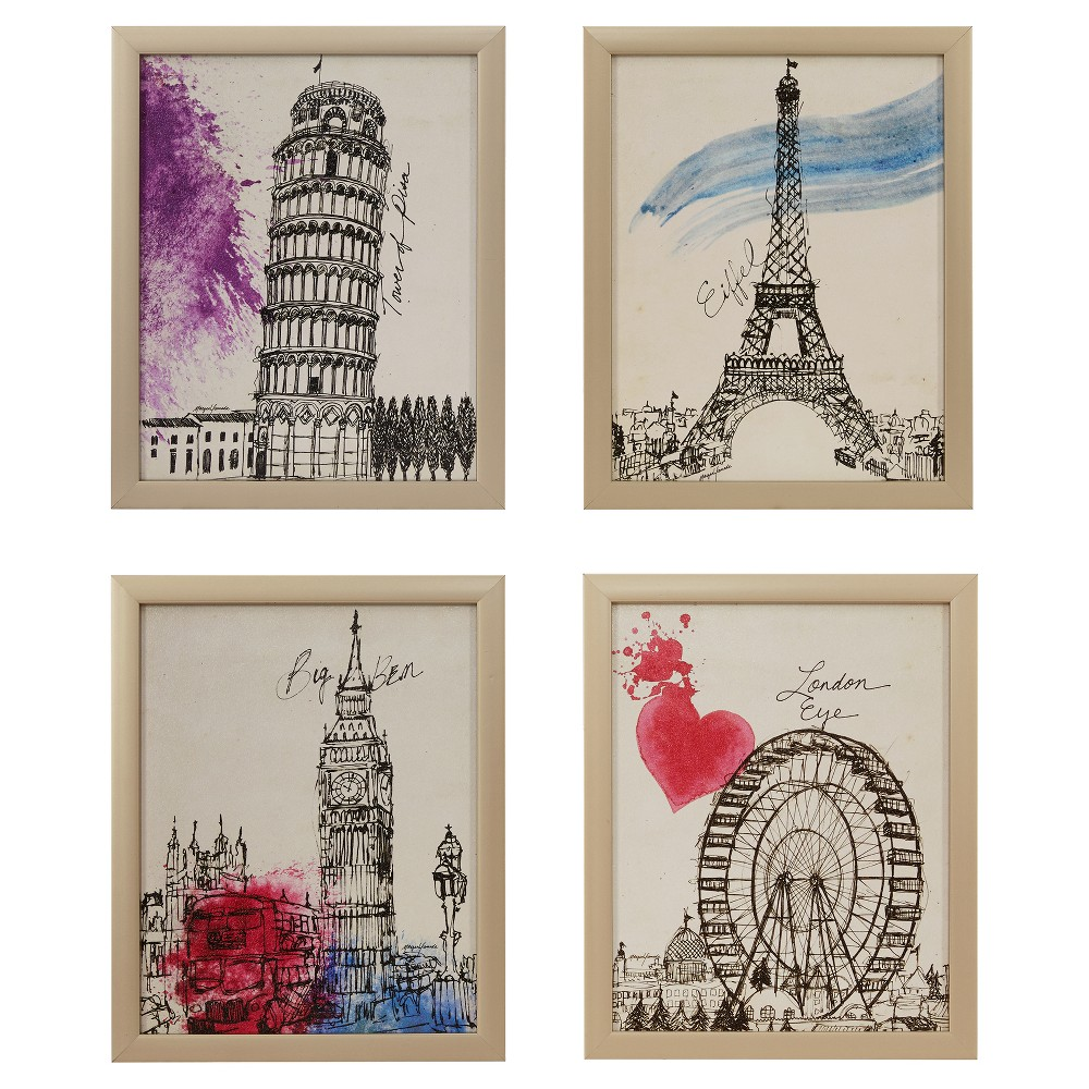 European Summer Days Framed Wall Art 4 Ps Set 14.76 X 17.72 X 4.3 - Trends International, Multi-Colored
