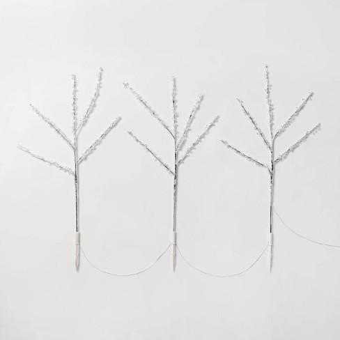 3ct Christmas LED Twig Clear Beaded Stake Lights Warm White Twinkle - Wondershop™ - image 1 of 2