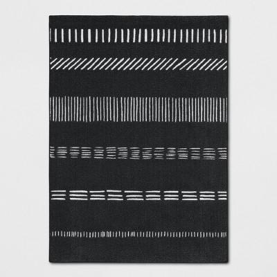 4'X5'6  Multi Striped Tufted Accent Rug Black/White - Room Essentials™