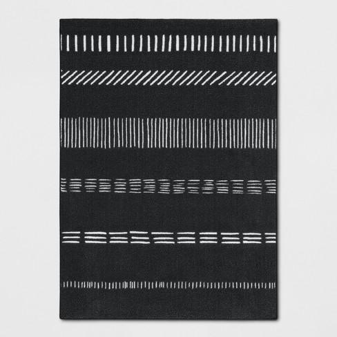 "4'X5'6"" Multi Striped Tufted Accent Rug Black/White"