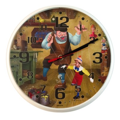 """2.75"""" x 1.5"""" Pinocchio Children's Decorative Wall Clock White Frame - By Chicago Lighthouse"""