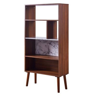 "58"" Kingston Bookshelf with Faux Marble Top Solid Wood Leg Walnut - Versanora"