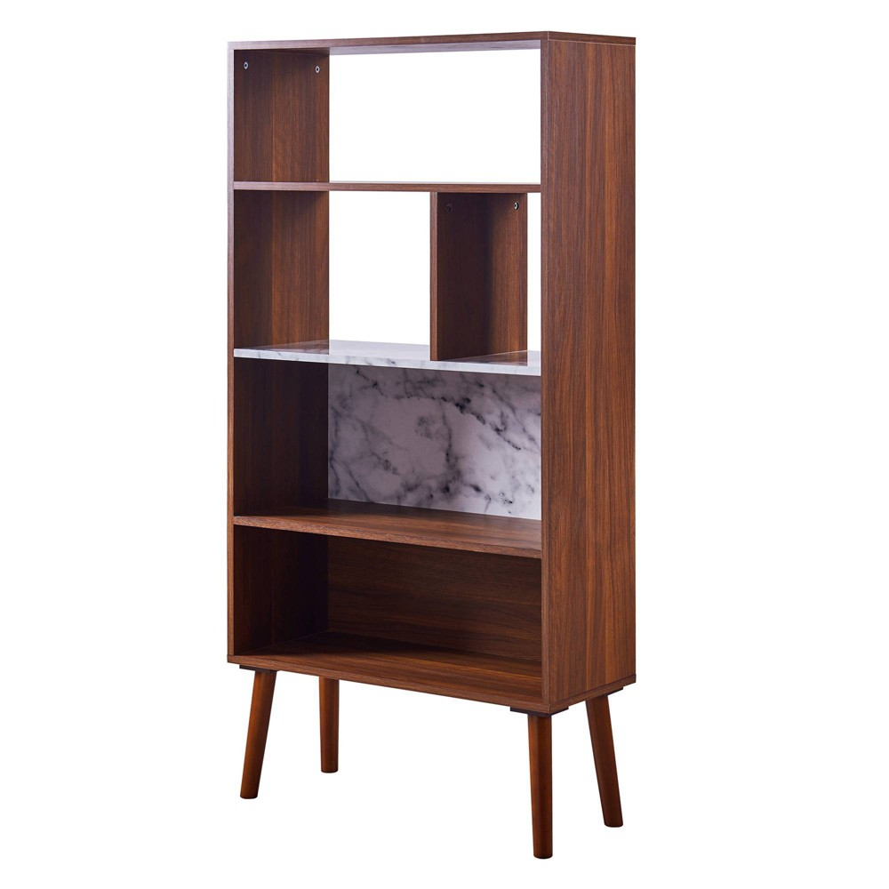 Image of Kingston Bookcase with Faux Marble Top Solid Wood Leg Walnut - Versanora