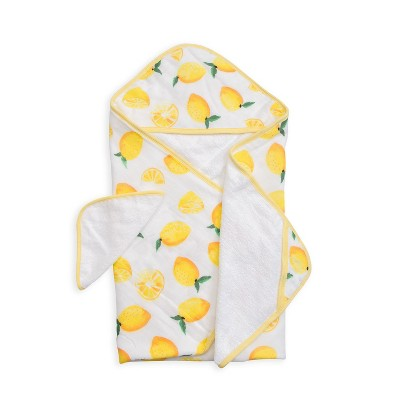 Little Unicorn Cotton Muslin and Terry Hooded Towel - Lemon